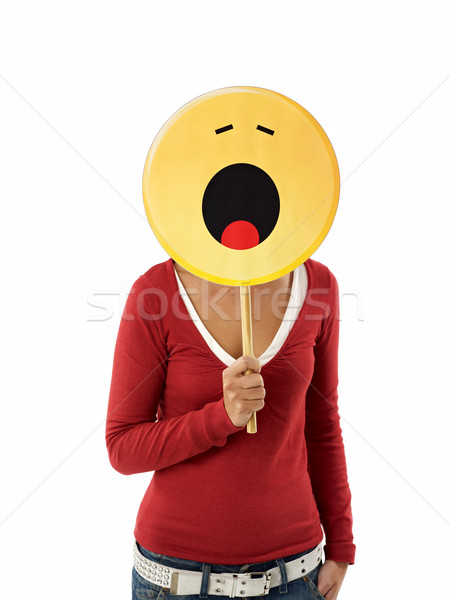 woman with emoticon Stock photo © diego_cervo