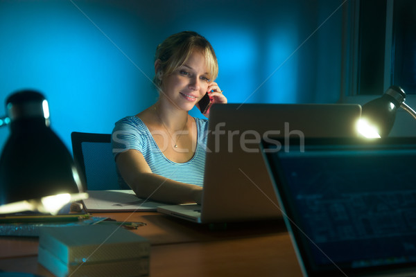 Woman Interior Designer Mobile Phone Working Late At Night Stock photo © diego_cervo