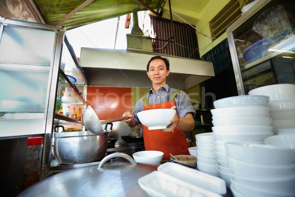Stock fotó: Férfi · dolgozik · szakács · ázsiai · étterem · konyha