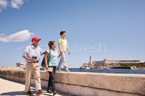Grandparents Grandson Family On Holidays In Havana Cuba Stock photo © diego_cervo