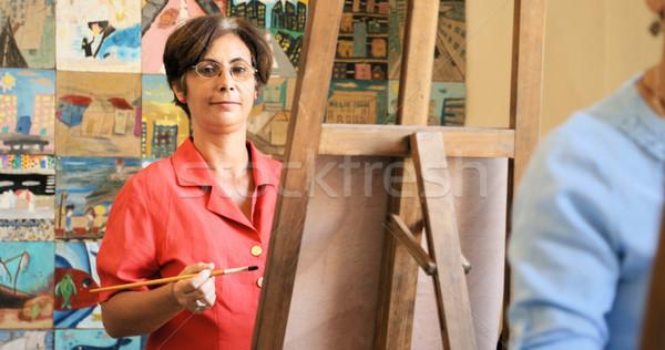 Retrato feliz mujer sonriente pintura arte escuela Foto stock © diego_cervo