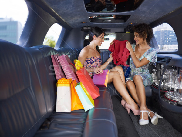 women shopping in limousine Stock photo © diego_cervo