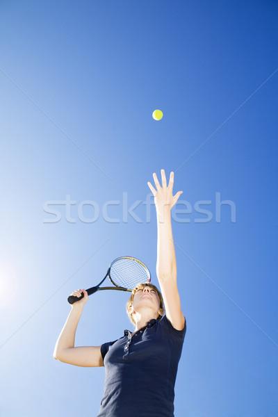 теннис женщину играет мяча копия пространства Сток-фото © diego_cervo