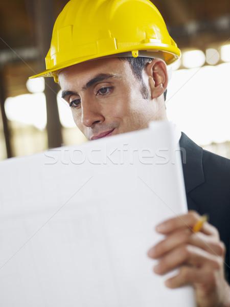 Zdjęcia stock: Architekta · plan · budowa · mężczyzna