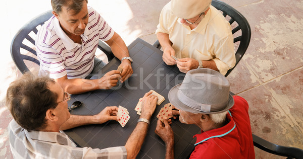 Stock photo: Group Of Senior Men Playing Cards Game In Patio