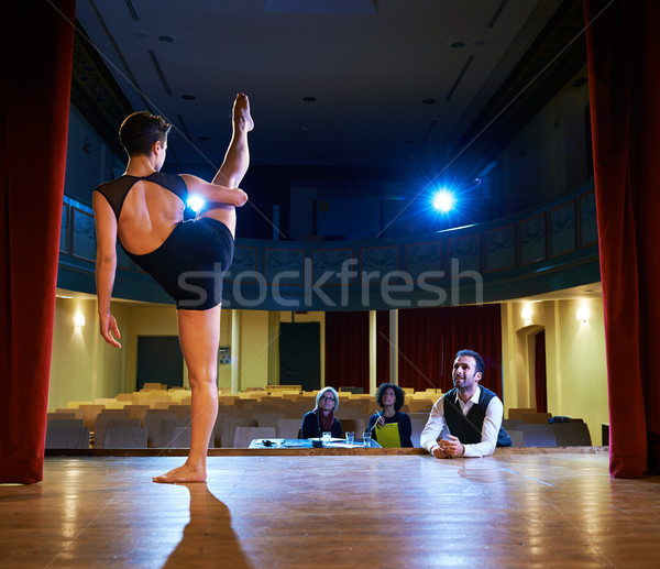 woman dancing for audition with jury in theater Stock photo © diego_cervo