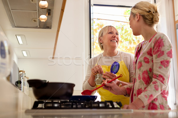 mom and daughter cooking in home kitchen Stock photo © diego_cervo