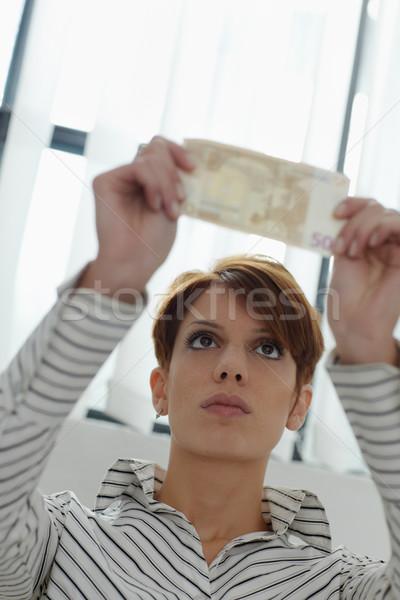 Nő bankjegy vízjel kaukázusi tart 50 Stock fotó © diego_cervo