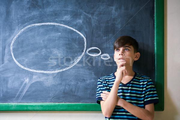 Junge Studenten Tafel Denken Schule Stock foto © diego_cervo