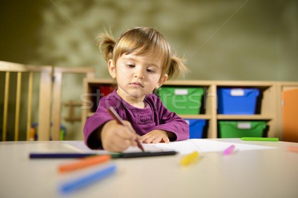 Stockfoto: Baby · leuk · kind · tekening · school · meisje