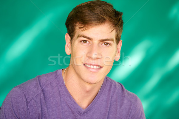 People Portrait Young Latino Man Smiling With Happy Face Stock photo © diego_cervo