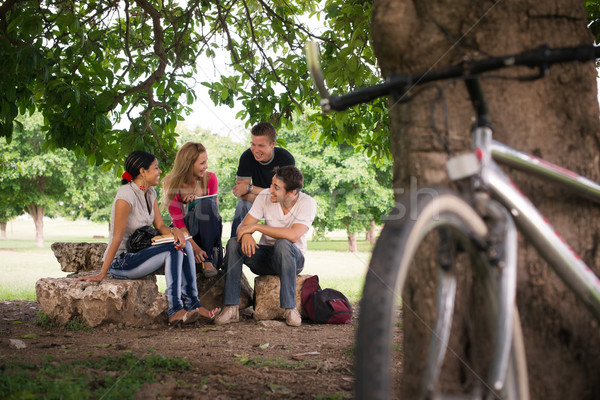 Stock photo: Young students doing homework in college park