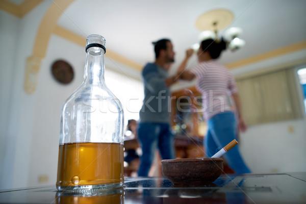 Zły mąż żona domu przemoc w rodzinie Zdjęcia stock © diego_cervo