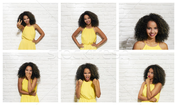 Facial Expressions Of Young Black Woman On Brick Wall Stock photo © diego_cervo