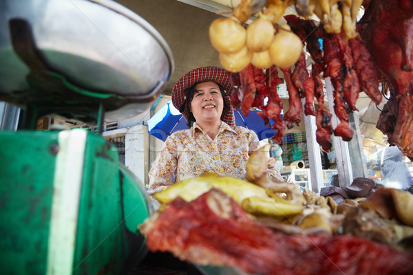 Portrait of Asian woman selling street food in Cambodia  Stock photo © diego_cervo