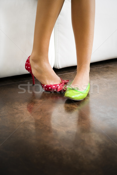 Ayakkabı görmek kadın yeşil ayaklar Stok fotoğraf © diego_cervo