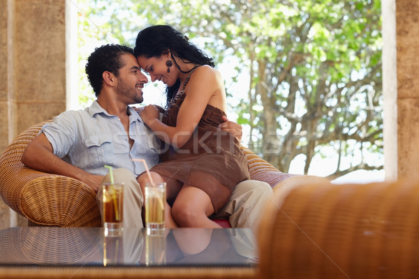 Feliz marido esposa luna de miel Resort jóvenes Foto stock © diego_cervo