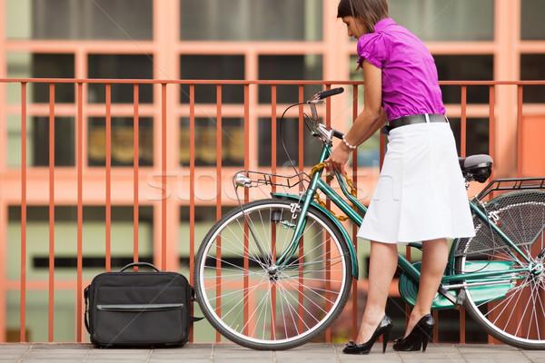 woman locking padlock Stock photo © diego_cervo