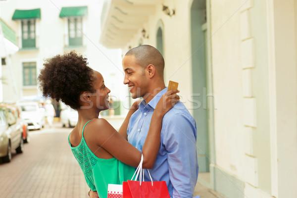 афроамериканец пару торговых кредитных карт Панама черный Сток-фото © diego_cervo