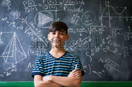 Сток-фото: портрет · счастливая · девушка · комплекс · Math · проблема · доске