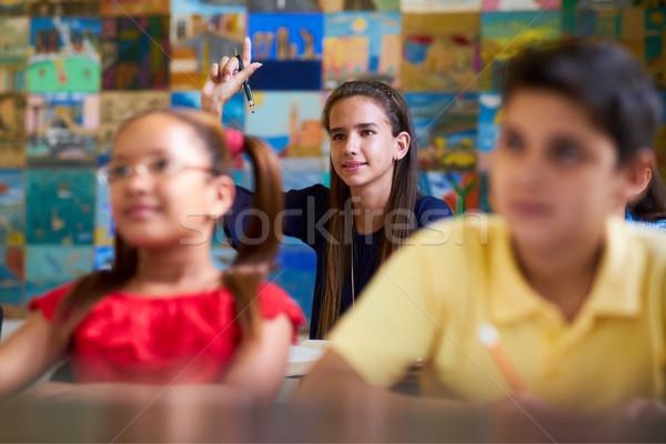 Smart dziewczyna strony pytanie szkoły Zdjęcia stock © diego_cervo