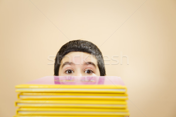 子供 子 隠された 後ろ 図書 ストックフォト © diego_cervo