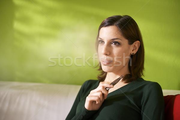 Stockfoto: Jonge · vrouw · roken · elektronische · sigaret · home · jonge