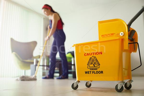 Vrouw schoonmaken vloer home focus Stockfoto © diego_cervo