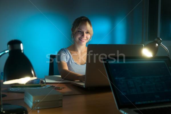 Boldog nő belsőépítész dolgozik pc késő Stock fotó © diego_cervo