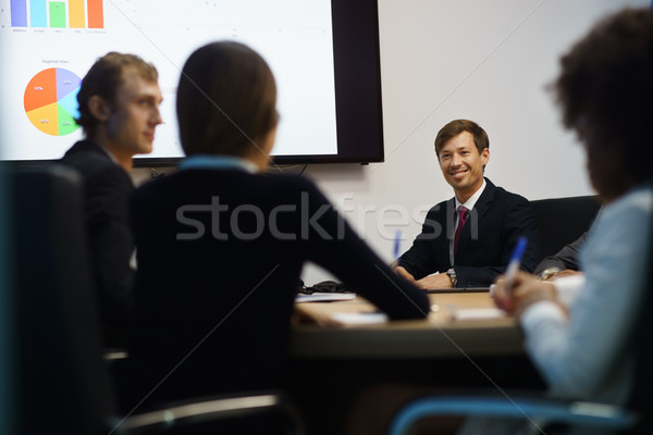 Stock photo: Business People In Office Meeting Room With Charts On TV