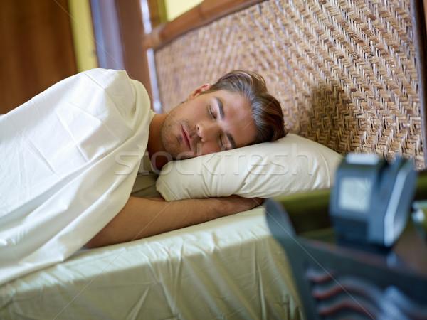 Stock fotó: Fiatal · felnőtt · férfi · alszik · derűs · kaukázusi · felnőtt