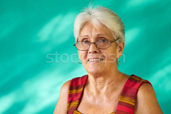 Emberek portré boldog idős spanyol nő Stock fotó © diego_cervo