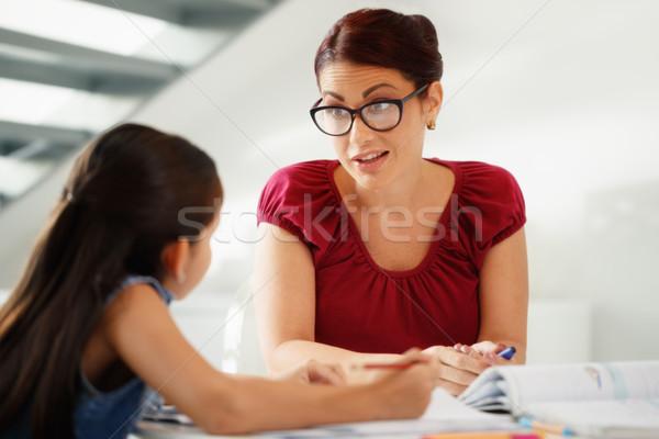 教育 ママ 支援 娘 学校 宿題 ストックフォト © diego_cervo