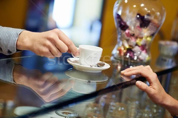 人 カフェテリア バーテンダー エスプレッソ コーヒー ストックフォト © diego_cervo
