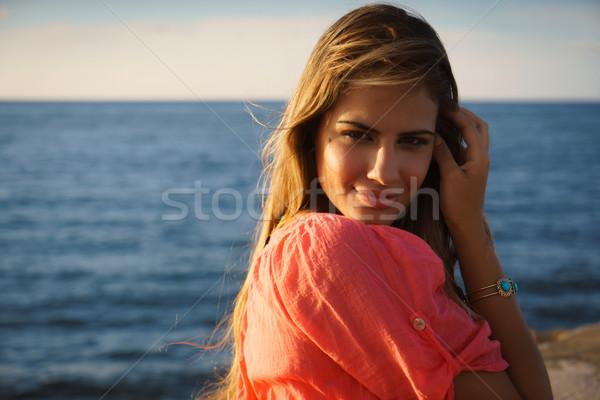 портрет улыбка счастливым морем красоту Сток-фото © diego_cervo