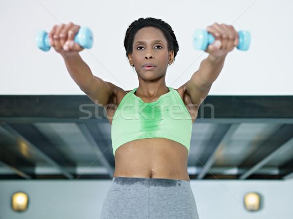 Foto stock: África · mujer · pequeño · pesos · gimnasio