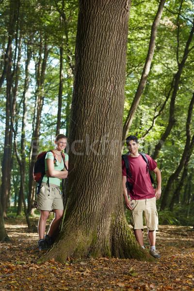 Stockfoto: Milieu · behoud · jonge · wandelaars · boom
