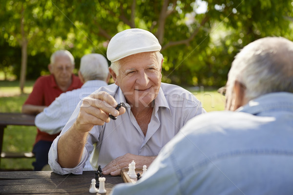 Active retired seniors, two old men playing chess at park Stock photo © diego_cervo
