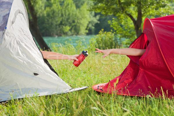 Nők kempingezés kettő nők sátor osztás Stock fotó © diego_cervo