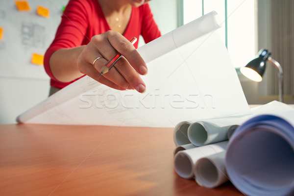 1 Young Architect College Student Doing Homework Drawing Plan Stock photo © diego_cervo