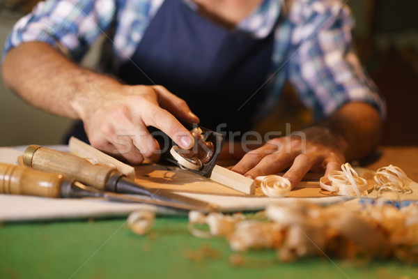 Artisan Lute Maker Chiseling Stringed Instrument Classical Guita Stock photo © diego_cervo