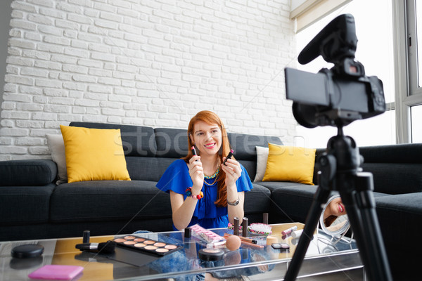 Young People Shooting Makeup Video For Vlog Video Blog Stock photo © diego_cervo