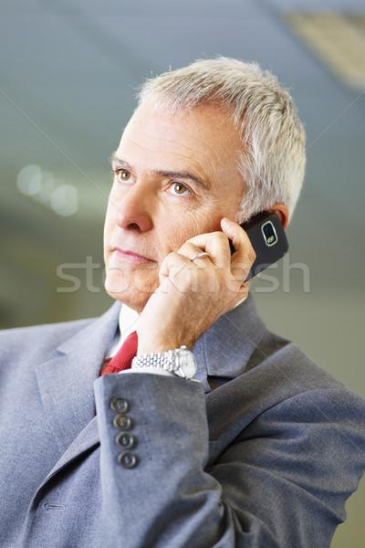 Maturité affaires téléphone bureau portrait homme d'affaires Photo stock © diego_cervo