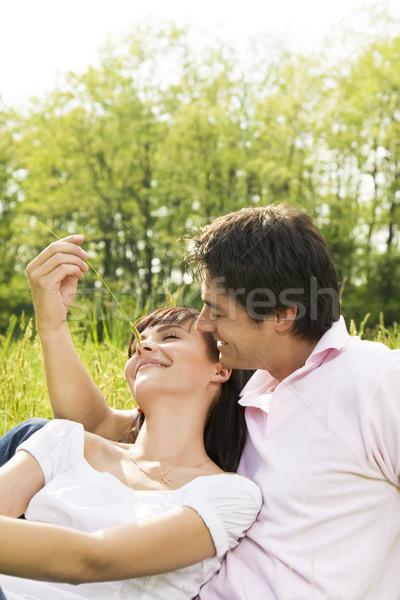 луговой пару трава человека Сток-фото © diego_cervo