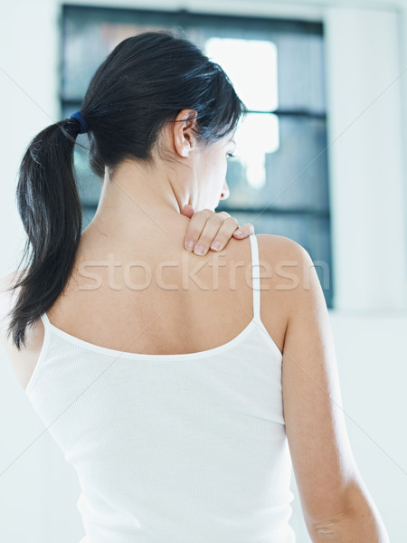 Nő üzenetküldés nyak hátsó nézet kezek nők Stock fotó © diego_cervo