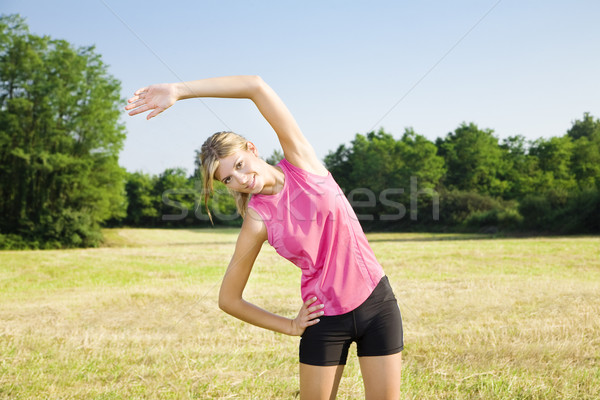Stockfoto: Jogging · jonge · vrouw · buitenshuis · exemplaar · ruimte · vrouw