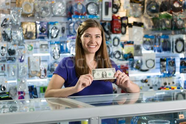 Foto stock: Feliz · feminino · computador · compras · proprietário