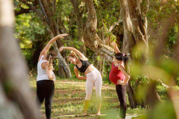 Foto d'archivio: Yoga · istruttore · incinta · donne · parco