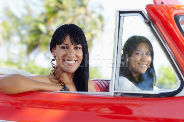 Stock fotó: Gyönyörű · iker · nővérek · cabrio · autó · fiatal · felnőtt