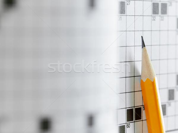 Keresztrejtvény puzzle közelkép ceruza copy space papír Stock fotó © diego_cervo